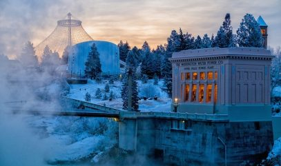 Spokane's Riverfront Park and Washington Water Power Building in winter